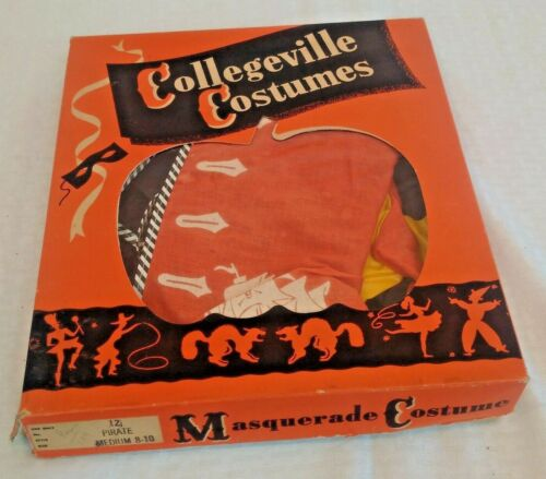 Vintage Collegeville Halloween Costume 1950s Pirate #12 Outfit MIB Many Pieces