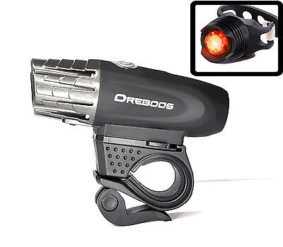 USB Rechargeable LED Bicycle Bright Bike Headlight and Rear Tail Light Front Set