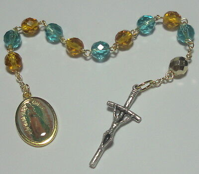 (Our Lady of Guadalupe Single Decade Rosary w/ JPII Crucifix - Life & World Peace)