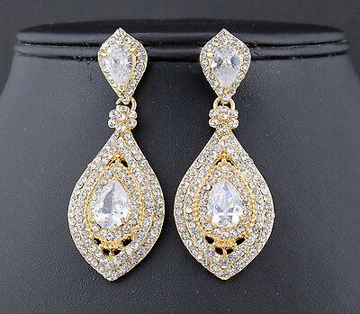 Drop Austrian Rhinestone Crystal CZ Chandelier Dangle Earrings Wed E3510G GOLD
