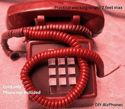 Cherry Red 12 Ft Handset Cord Phone Coil Curly Telephone Coca Cola Vintage RD