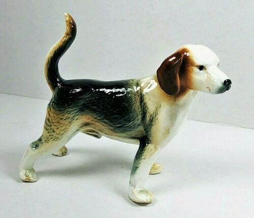 """VINTAGE PORCELAIN HANDSOME HOUND DOG STANDING 4"""" H WHITE BLACK BROWN"""
