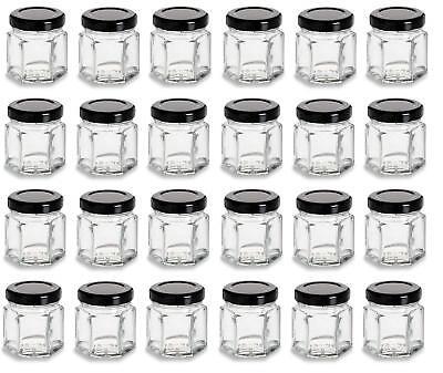 Nakpunar 24 pcs 1.5 oz Mini Hexagon Glass Jars with Black Plastisol Lined Lids