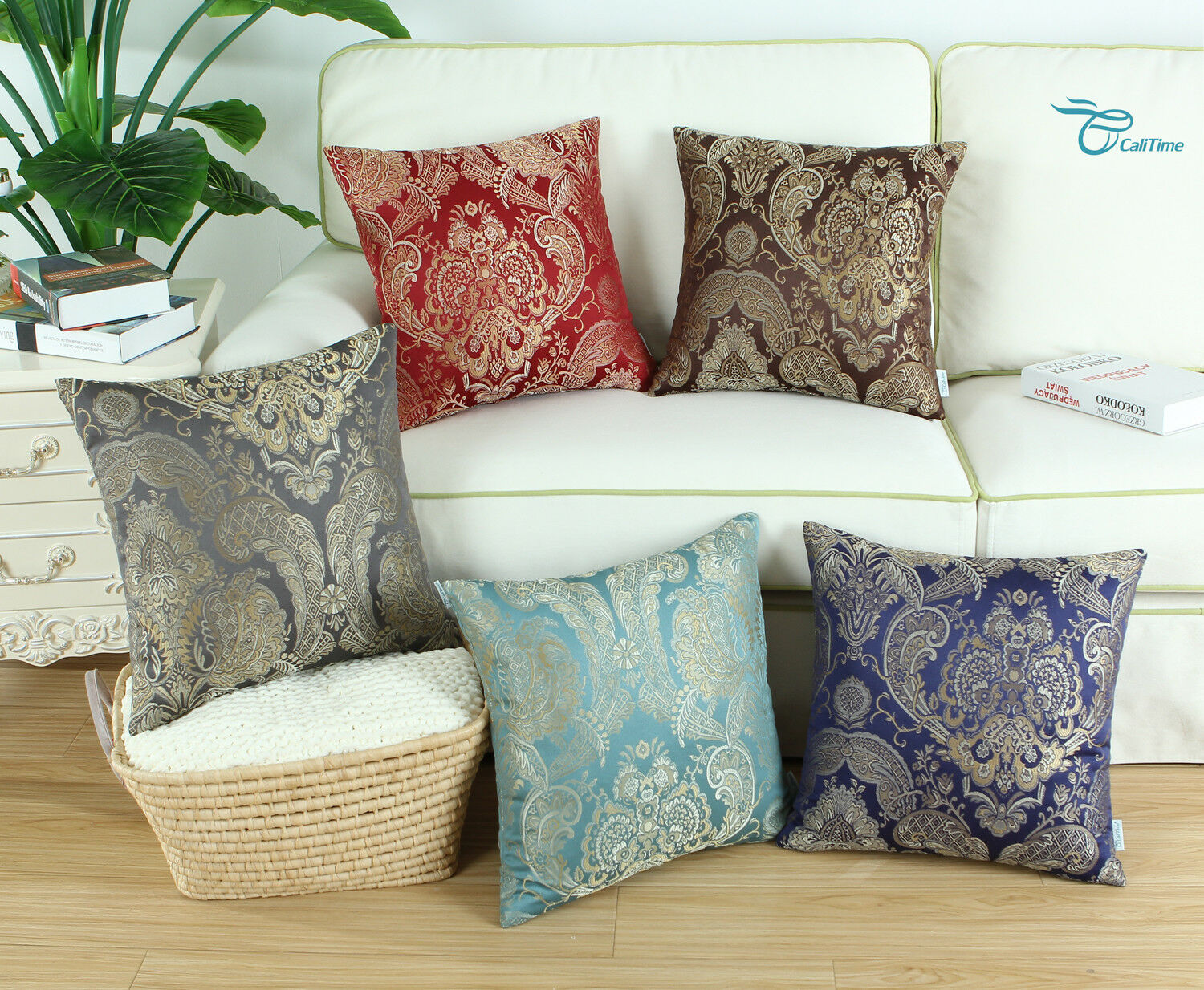 CaliTime Square Throw Pillow Shell Cushion Cover Damask Flor