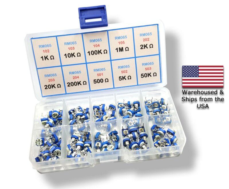 150pcs 15 Values Potentiometer Trimpot Variable Resistor Assortment Box Kit