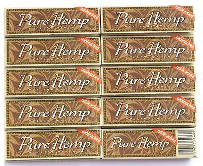 10PK Pure Hemp Unbleached Single Wide Cigarette Rolling Paper 500 Leaves -