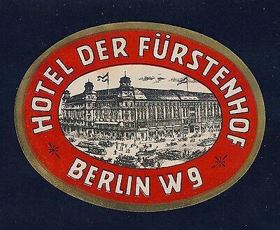 Hotel der Fürstenhof BERLIN Germany * Old Luggage Label Kofferaufkleber