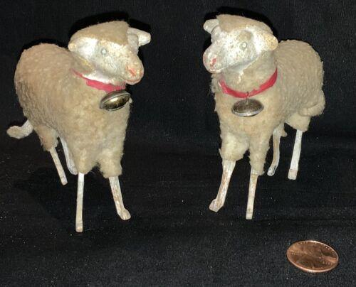 "PAIR ANTIQUE 3"" GERMAN CHRISTMAS COMPOSITION PUTZ WOOLY SHEEP W/BRASS BELLS"