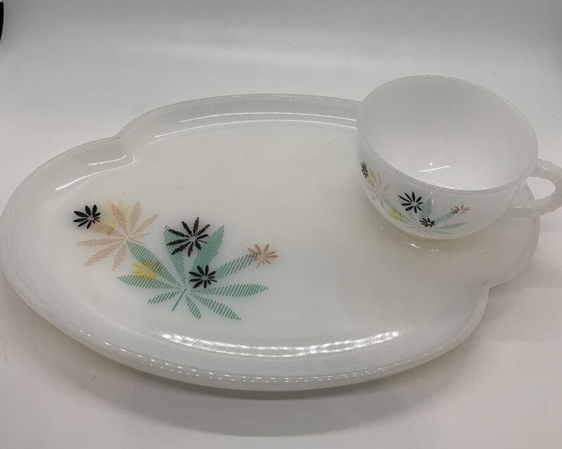 Vintage Federal Milk Glass Patio Snack Set Atomic Flower Design Plate & Cup
