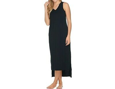 AnyBody Women's Loungewear Cozy Knit Maxi Tank Dress Black Large Size
