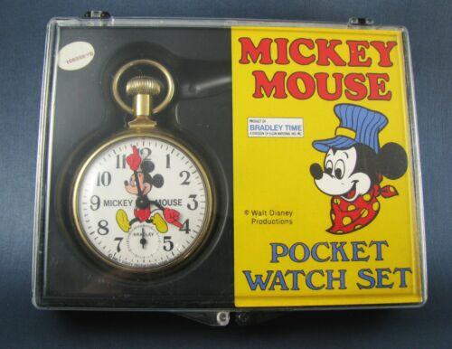 Vintage Bradley Mickey Mouse Pocket Watch in Original Case from Disneyland 1977