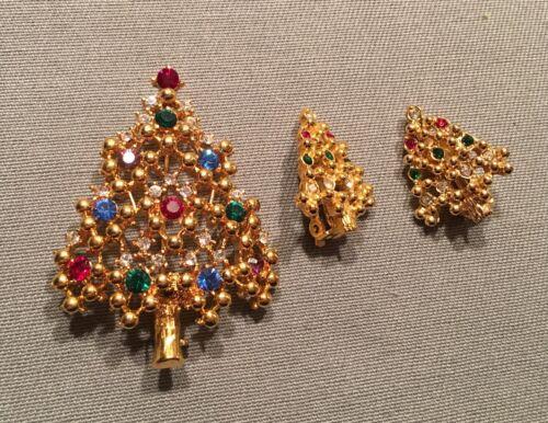 Vtg Eisenberg Ice Rhinestone Christmas Tree Pin Brooch Multi Colored Earrings