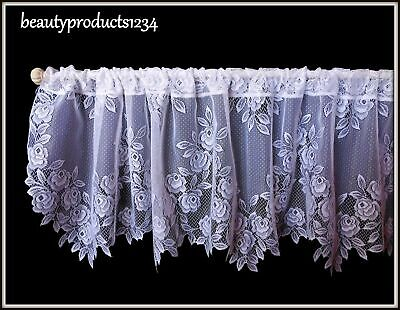 """HERITAGE LACE White TEA ROSE Valance New in Pkg. 60"""" x 17"""" Made USA LACE~"""