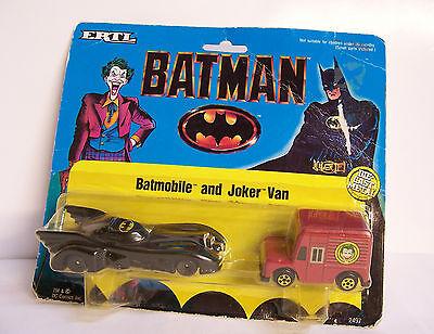 Ertl 1/64 1989 Dc Comics Batman Movie Batmobile & Joker Van Set Diecast