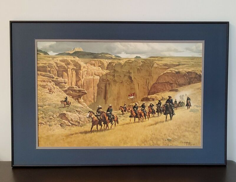 Frank McCarthy Calvery Soldiers on Horses S/N Limited Edition Litho Print Framed