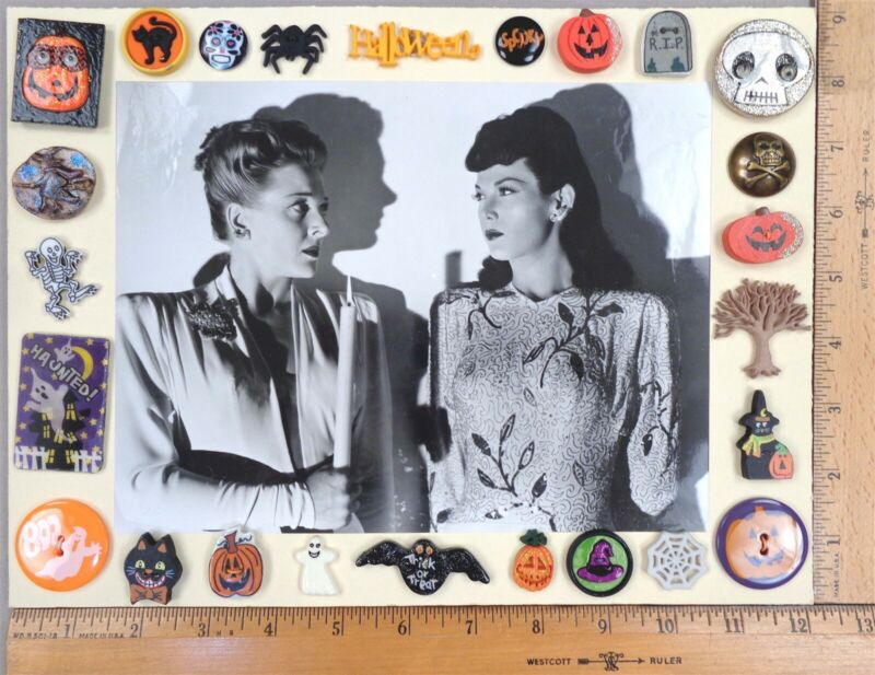 Card of 24 HALLOWEEN / Spooky Night Theme Clothing BUTTONS + Vintage Movie Photo