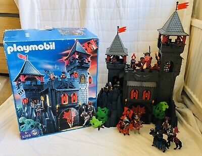 RARE PLAYMOBIL 3269 RED DRAGON KNIGHTS ROCK CASTLE 100% COMPLETE & BOXED VGC