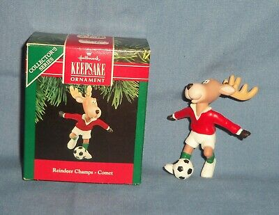 VTG 1990 HALLMARK Christmas Ornament Reindeer Champs Comet Playing Soccar - Soccar Ball