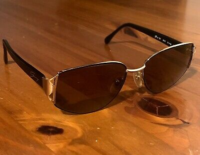 Vintage Genny Sunglasses Made In Italy 521 5007 80s Gray Lenses Gold Metal