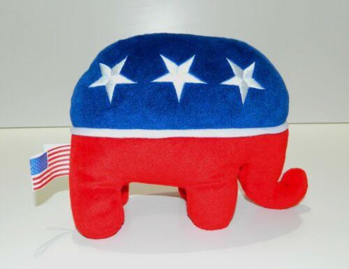 "Rare 2000 Republican National Committee Patriotic Pride Plush Elephant 8"" x 6"""