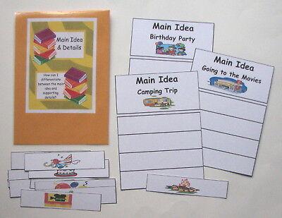 Teacher Made Literacy Center Resource Game Main Idea & Details Match