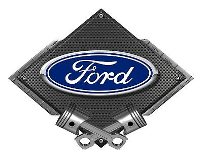 12' Oval Metal Diamond - Ford Blue Oval Black Carbon Diamond Metal Art Wall Sign - Ford Licensed