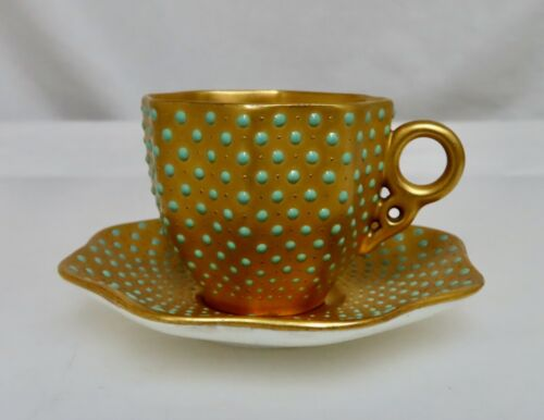 Coalport Jeweled Gold Demitasse Coffee Cup & Saucer -  80813