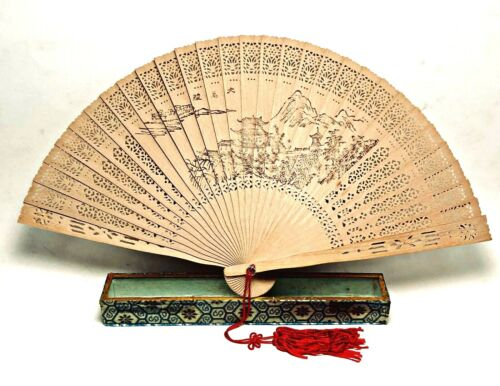 Japanese Wooden Folding Hand Fan Scented Sensu Openwork Geisha Awa Odori Deco