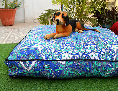 - Indian Mandala Floor Pouf Pet Dog Beds Square Cushion Cover Ottoman Pillow Cover