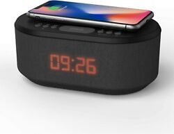 Bedside Radio Alarm Clock with USB Charger, Dual Alarm Dimmable LED Display