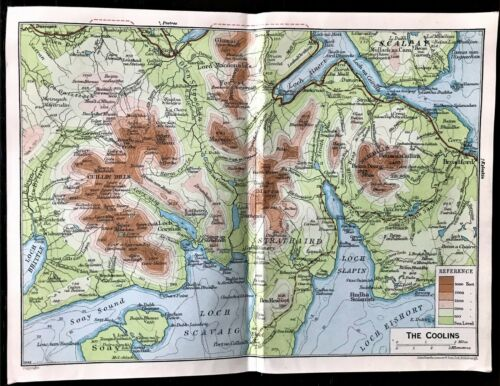 Antique Color Map : THE COOLINS, SCOTLAND : 100% AUTHENTIC 1930 ORIGINAL MAP