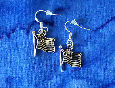 BUY 3 GET 1 FREE~JULY 4TH PATRIOTIC AMERICAN FLAG SILVER EARRINGS~STERLING - Patriotic Earrings