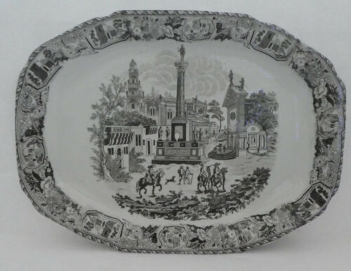 """VICTORIA WARE PLATTER Ironstone Black and White 19"""" Large Serving Antique"""