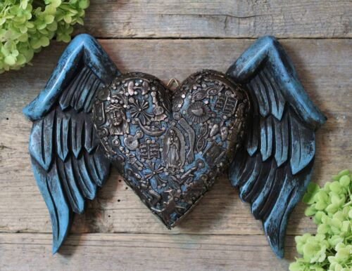 Winged Blue Heart Carved Wooden Milagros Michoacán Mexican Folk Art LOVE Token
