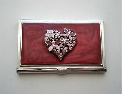 New Spring Street Silver Tone Red Enamel Rhinestone Heart Business Card Holder