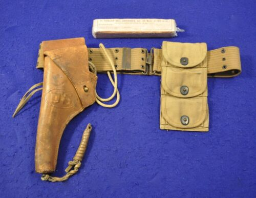ORIGINAL EXCELLENT WWI US COLT OR S&W 1917 REVOLVER COMPLETE HOLSTER BELT RIG