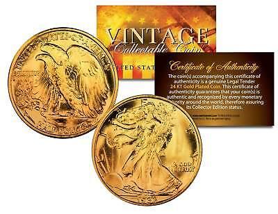 1916-1947 WALKING LIBERTY SILVER Half Dollar Coin 24K GOLD Plated w/ (Half Dollar Gold Coins)