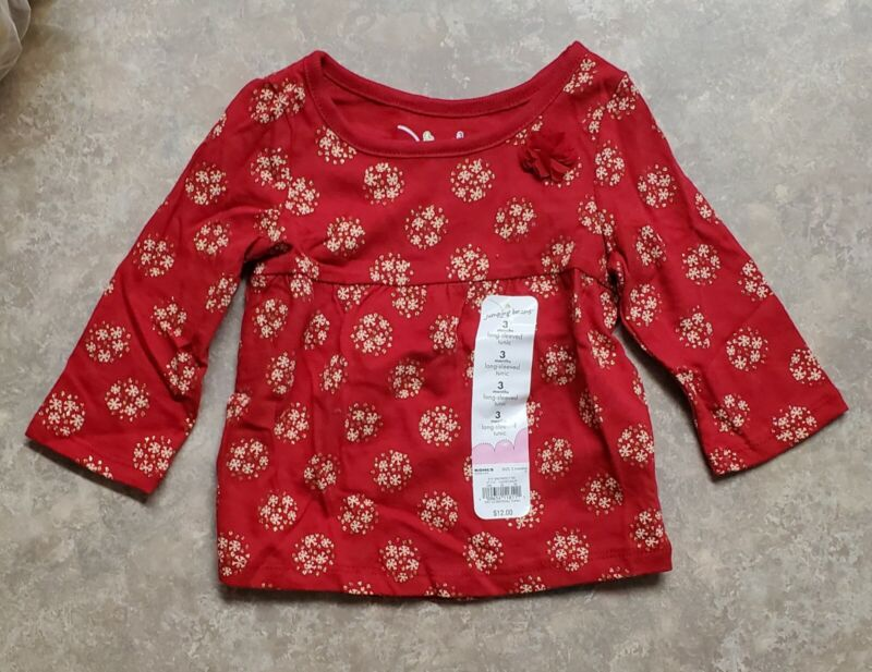 Jumping Beans Snowflakes Long Sleeve Babydoll Tunic - Red/Gold Sparkle - 3 Mos