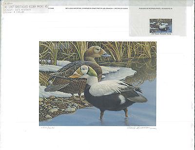 ALASKA 3 1987  STATE DUCK STAMP PRINT REGULAR ED  SPECTACLED EIDERS.REG $150