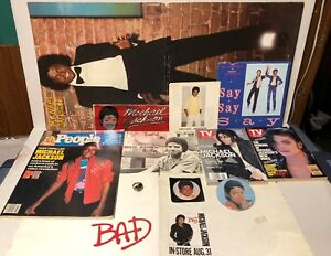 Lot of MICHAEL JACKSON memorabilia, BAD promo poster, bumper sticker, pin, ring