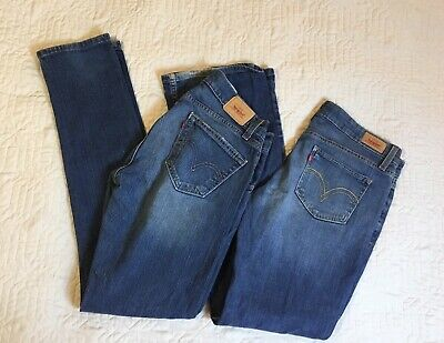 Levis 504 518 Blue Jeans Women Size 9M, 32 Waist Low Rise Slouch Skinny Lot Of 2