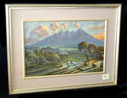 "1940s Indonesian/ Java Oil Painting ""rice Fields & Mountains"" By Basar (new)"