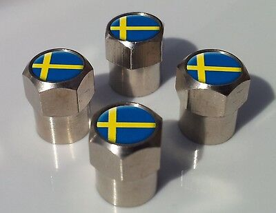 SWEDEN SVERIGE SWEDISH FLAG ALLUMINIUM TYRE VALVE CAPS FOR TIRE WHEEL