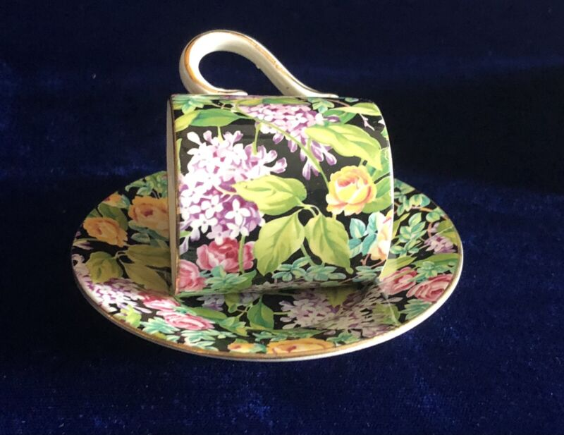 Vtg Lord Nelson Chintz Black Beauty DemiTasse Cup & Saucer Made In England