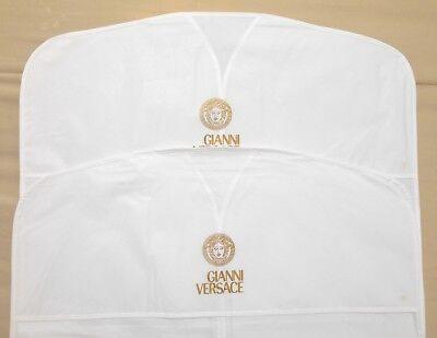"2 VERSACE Garment Bags White VINYL 22""x49"" Long for Dress Coat Travel Storage"