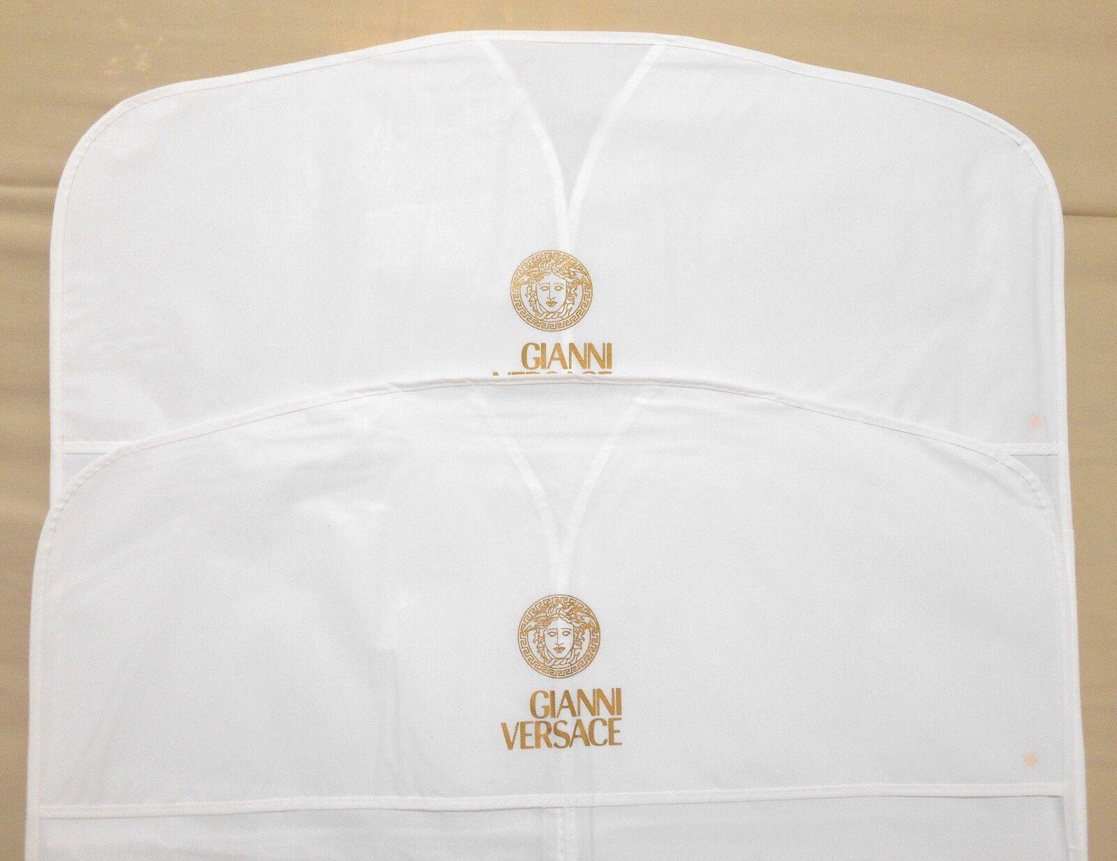 "2 VERSACE Garment Bags White VINYL 22""x49"" Long for Dress Co"