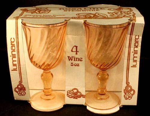 Luminarc Pink Twist Wine Goblets Glasses Rosaline Druand France Unused in Box