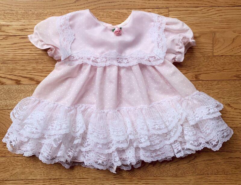 NWT Vtg CUTEST ONE Baby Girl Dress 12 Mo Pink Polka Dot Lace Trim Short Sleeve