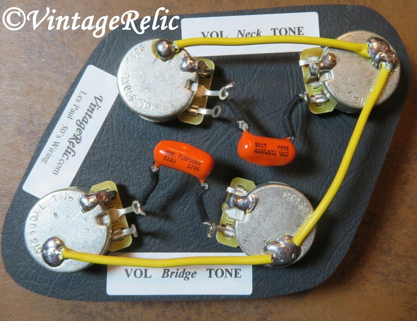 Les Paul Wiring Harness Vintage Orange Drop .022uF Caps CTS 525k Pro Long Shaft