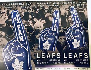 "Leafs vs Lightning tickets April 4th ""Fan Appreciation Night"""